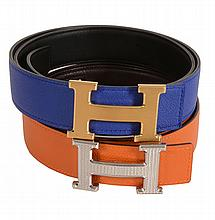 Hermès, Constance, two leather reversible 32mm belts, one 2011