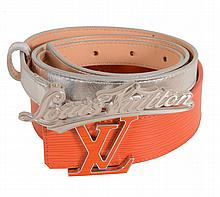 Louis Vuitton, two leather belts, one 40mm orange Epi with a palladium and...