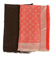 Louis Vuitton, Monogram, two silk and wool square scarves, one in red and cream