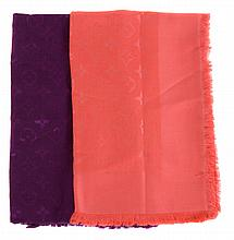 Louis Vuitton, Monogram, two silk and wool square scarves, one in purple