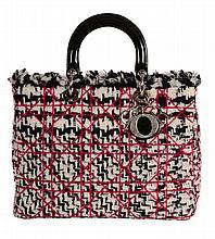 Dior, Lady Dior, a tweed fringe handbag, with patent handles and Dior...