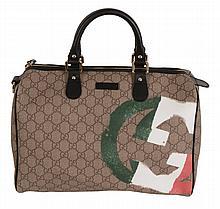 Gucci, Joy Boston, Italian Flag , a coated canvas handbag