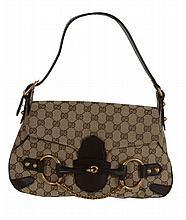 Gucci, Horsebit, a canvas monogram shoulder bag, with a single leather handle