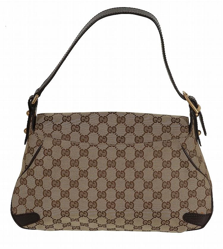 63a27c70a1e4 Gucci, Horsebit, a canvas monogram shoulder bag, with a single leather  handle