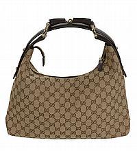 Gucci, Horsebit, a small canvas monogram hobo bag