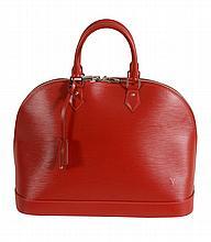 Louis Vuitton, Alma, a carmine cuir Epi leather handbag