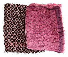Louis Vuitton, Monogram, a silk and wool denim bleached scrunched square shawl