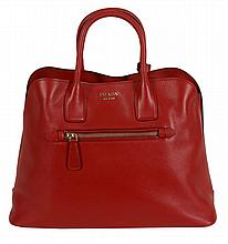 Prada, a fuoco red leather shopping bag , with brushed gilt hardware