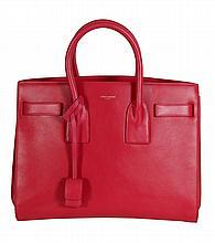 Yves Saint Laurent, Mini Sac De Jour, a lipstick pink leather handbag