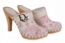 Dior, a pair of pink printed canvas wooden mules