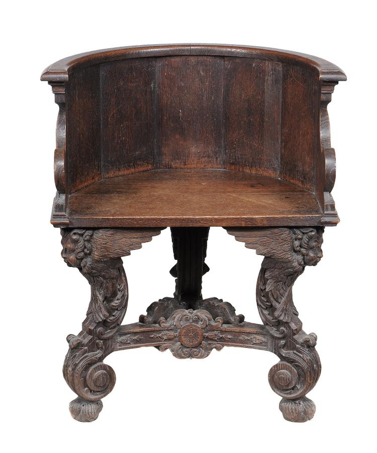 An italian carved walnut tub chair 19th century 82cm high for Furniture 123 near me