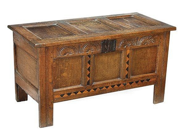 A Charles II panelled oak chest, circa 1660,