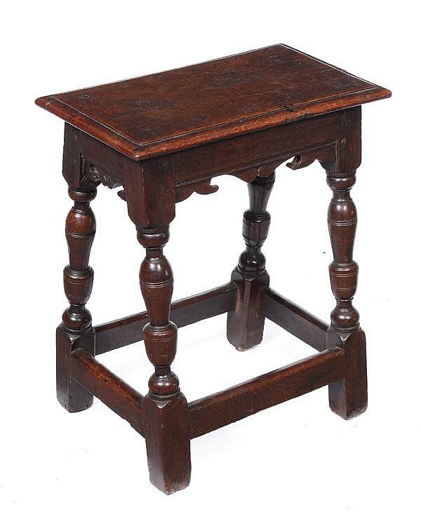 A oak joint stool, late 17th/early 18th century,