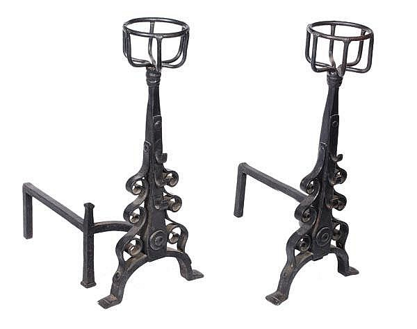A pair of wrought iron fire dogs in the 17th