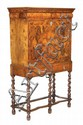 A walnut and featherbanded escritoire on stand,