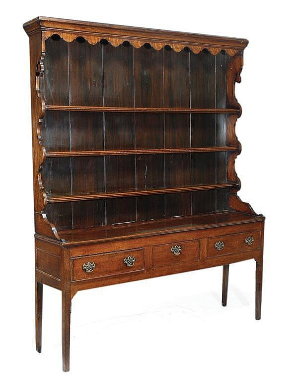 A George III oak dresser, late 18th century, with
