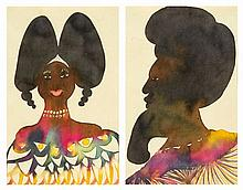 Chris Ofili (b. 1968) - Double Afro Head, 1999