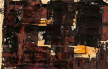 Kit Barker (1916-1988) Facade, 1958 oil on paper