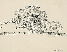 Harold Gilman (1876-1919) The Tree, Snargate pen