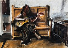 Robert Lenkiewicz (1941-2002) Belle with Guitar,