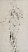 Henry Lamb (1883-1960) Female nude conte crayon on