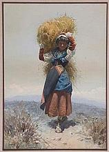 Domenico de Angelis (1852-1904) - Italian peasant girl carrying a bundle of hay