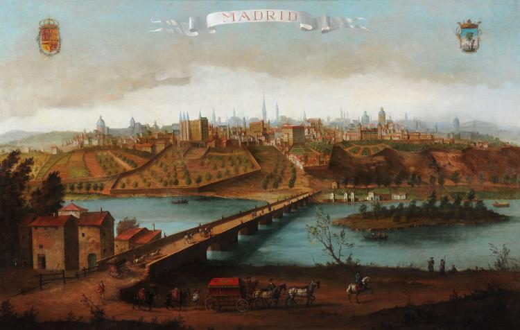 Thomas Ross (British Active 1730 - 1746) - A view of Madrid looking over the Manzanares river and the bridge of Segovia