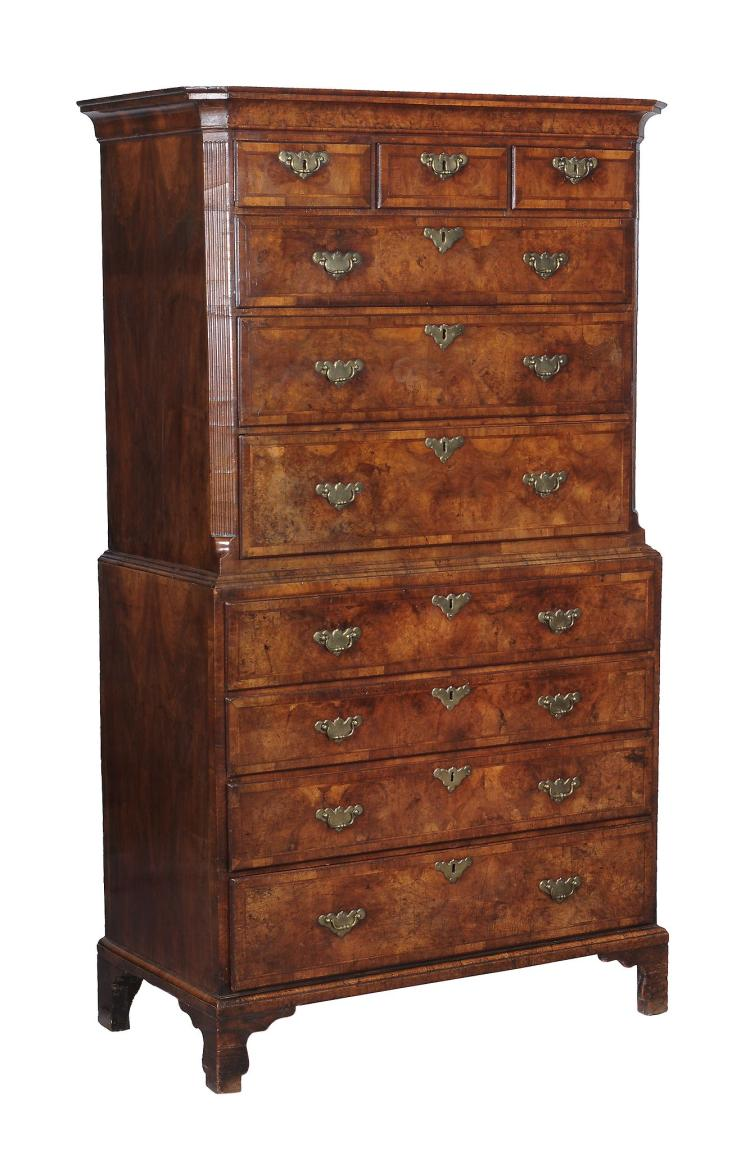 A george ii burr walnut and feather banded secretaire chest for Furniture history society