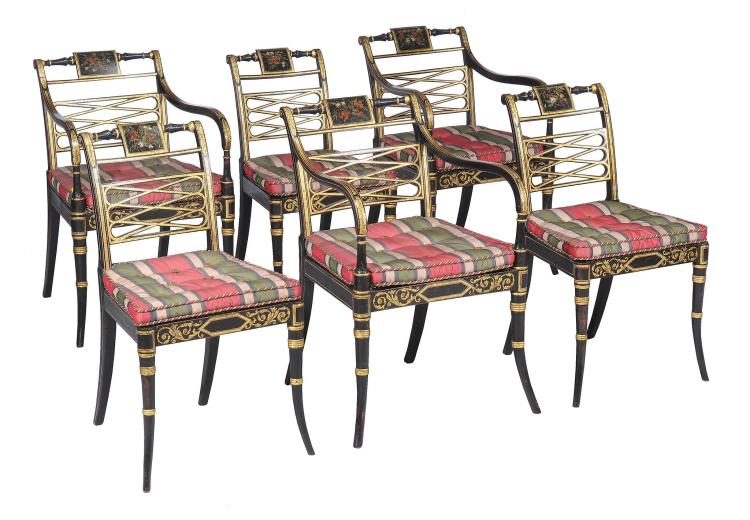 A set of twelve george iii ebonised parcel gilt and polychr for Furniture history society