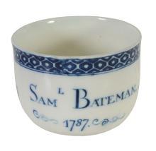 A Caughley porcelain dated commemorative fingerbowl, 1787