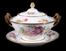 A Swansea porcelain sauce tureen, stand and a cover, 1814-22
