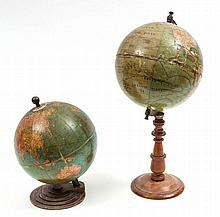 Two terrestrial table globes, including 46 cm high example