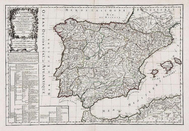 Robert de Vaugondy (Gilles & Didier) - L'Espagne divisee en tous ses Royaumes et Principautes,
