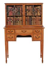 A George III satinwood cabinet on stand, circa 1800