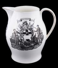 A Staffordshire-creamware Liverpool-printed commemorative jug