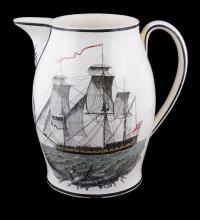 An English-creamware Liverpool-printed dated commemorative jug