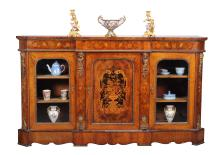 A Victorian walnut, marquetry and gilt metal mounted side cabinet