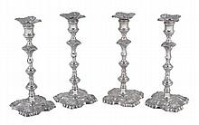 A set of four George III Scottish cast silver