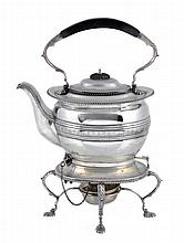An Irish silver oblong baluster kettle on stand by