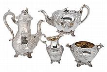 A matched Victorian Scottish silver four piece tea