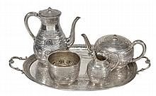 A Victorian silver four piece tea and coffee