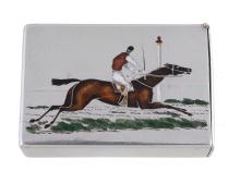 A Victorian silver and enamelled racing vesta case by Thomas Johnson II