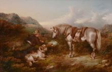 Paul Jones (act. 1855-1888) - A young gamekeeper with his horse and dogs in a Highland Landscape