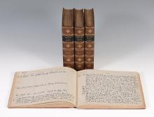 Hunting Register for The Craven Hunt, c.1922-1931 Red leather bound journal...