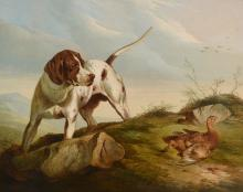 Paul Jones (act. 1855-1888) - Setter and grouse in a Highland landscape