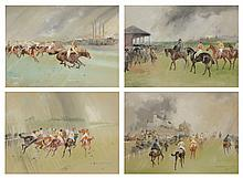 John Beer (1883-1915) - Common In the Paddock, Epsom; A Parade of Derby Horses; The Start for the Derby; Common Wins