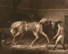 Pierre-Charles Coqueret (1761-1832) - Intérieur d'Ecurie and Le Marchand de Chevaux, after Carle Vernet,