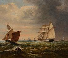 Attributed to John Moore of Ipswich Shipping in rough seas Oil on board...