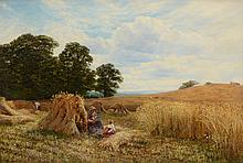 George Vicat Cole (British 1833-1893) - A hayfield with figures