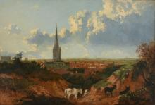 Norwich School (19th Century) - View of a cathedral town, with donkeys in the foreground
